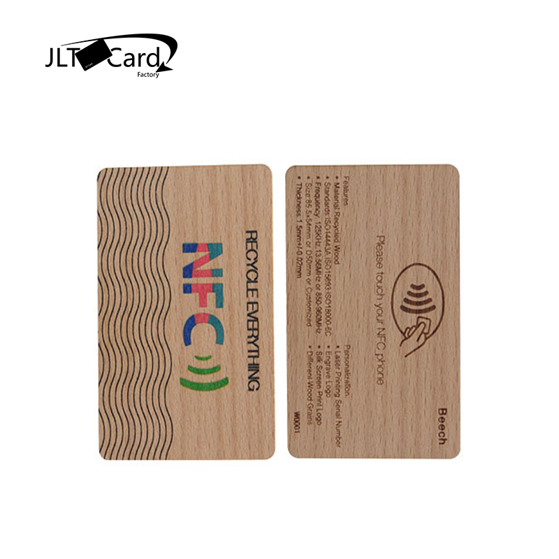 Silk Printing  CR80 13.56Mhz  Mifare 1kBeech Wooden Ving Key Card