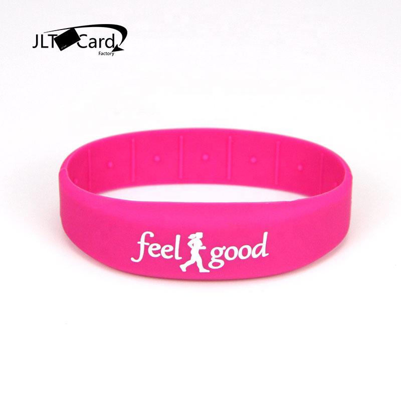 Passive RFID silicone wristband waterproof fitness club Debossed Logo Waterproof Bracelet