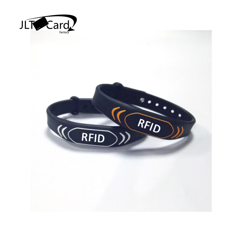 Diameter 45/55/65mm factory high quality waterproof LF 125khz TK4100 RFID silicone wristband with one color laser logo printing
