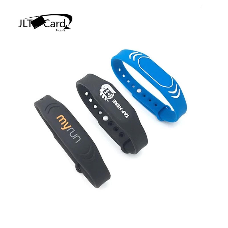 China RFID Silicone Wristband ISO 14443A HF NFC Bracelet Waterproof for Event Swimming Pool